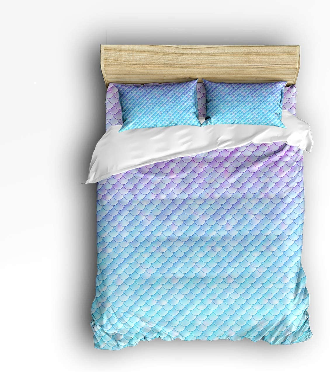 Amazon.com: 4 Piece Polyester Fabric Duvet Cover Set with Zipper