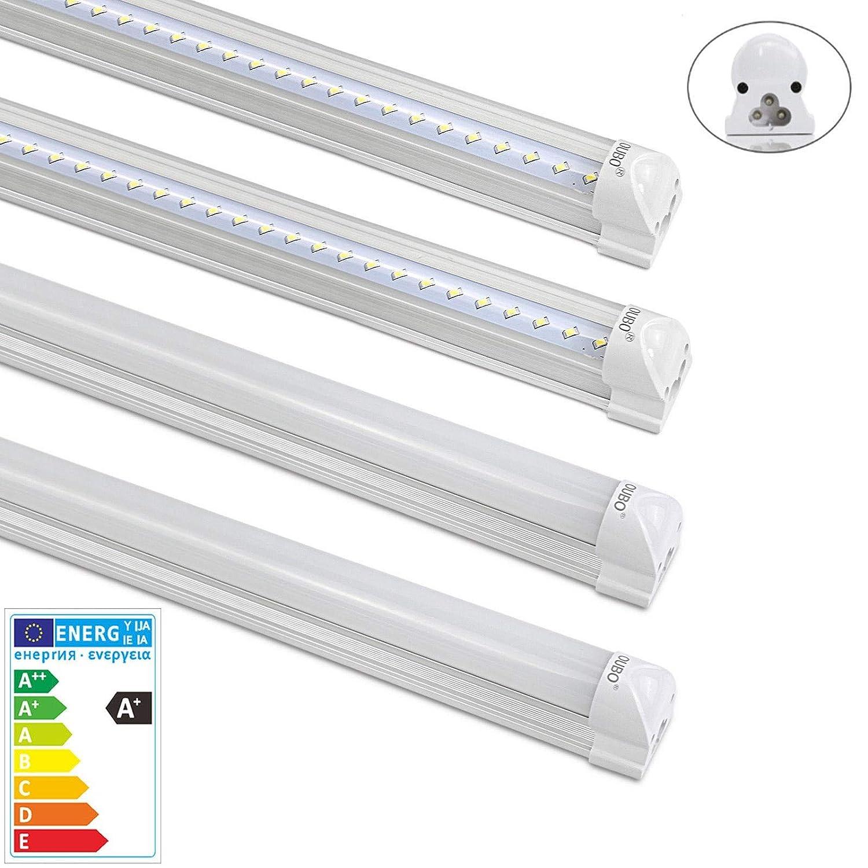 [PRO] [2er Pack] LED Leuchtstoffrö hre mit Fassung komplett 150CM LED Tube T8 Rö hre Leuchtstofflampe, 24 Watt, 2500 Lumen, Kaltweiss 6000K, Transparente Abdeckung OUBO