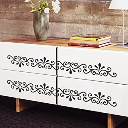 Merveilleux Window Wall Floral Border Vines Vinyl Decals Decor Art Mural Removable Wall  Stickers (Black)