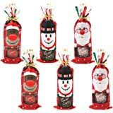 Christmas Decorations, TERSELY 6 PCS Christmas Wine Bottle Bags, Xmas Red Wine Bottle Cover Bags with Drawstrings Santa…