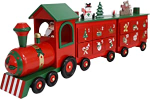 PIONEER-EFFORT 24 Inch Christmas Wooden Advent Calendar Train with Drawers for Adults Kids Christmas Countdown Decoration (Red&Black&Green Big Train)