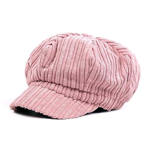 cec54c92cb8 ZLSLZ Womens Corduroy Striped Octagonal Ivy Newsboy Cabbie Gatsby Painter Hats  Caps For Women Pink at Amazon Women s Clothing store
