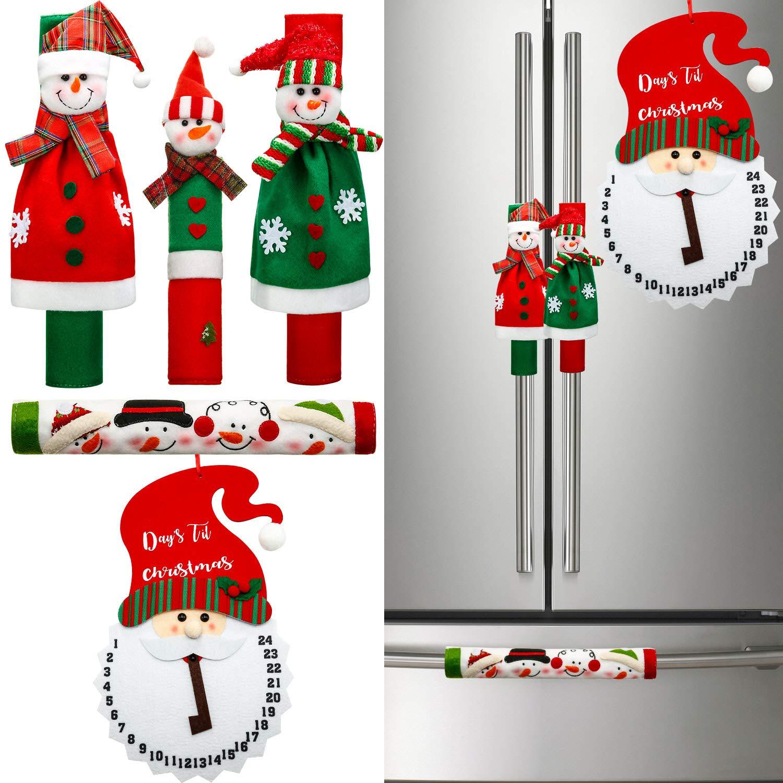Boao 5 Pieces Refrigerators Handle Covers Christmas Decorations Set Snowman Refrigerator Handle Door Covers, Christmas SantaClaus Advent Calendar for Kitchen Appliance Decorations