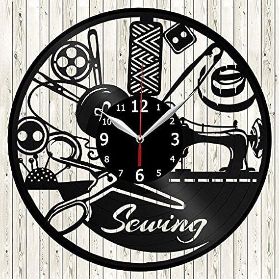 Menddy Hacer Ropa Máquina De Coser Personalidad Disco De Vinilo 3D Fábrica De Ropa Moda Retro Reloj Decorativo Sin Luz Led 12 Pulgadas: Amazon.es: Hogar