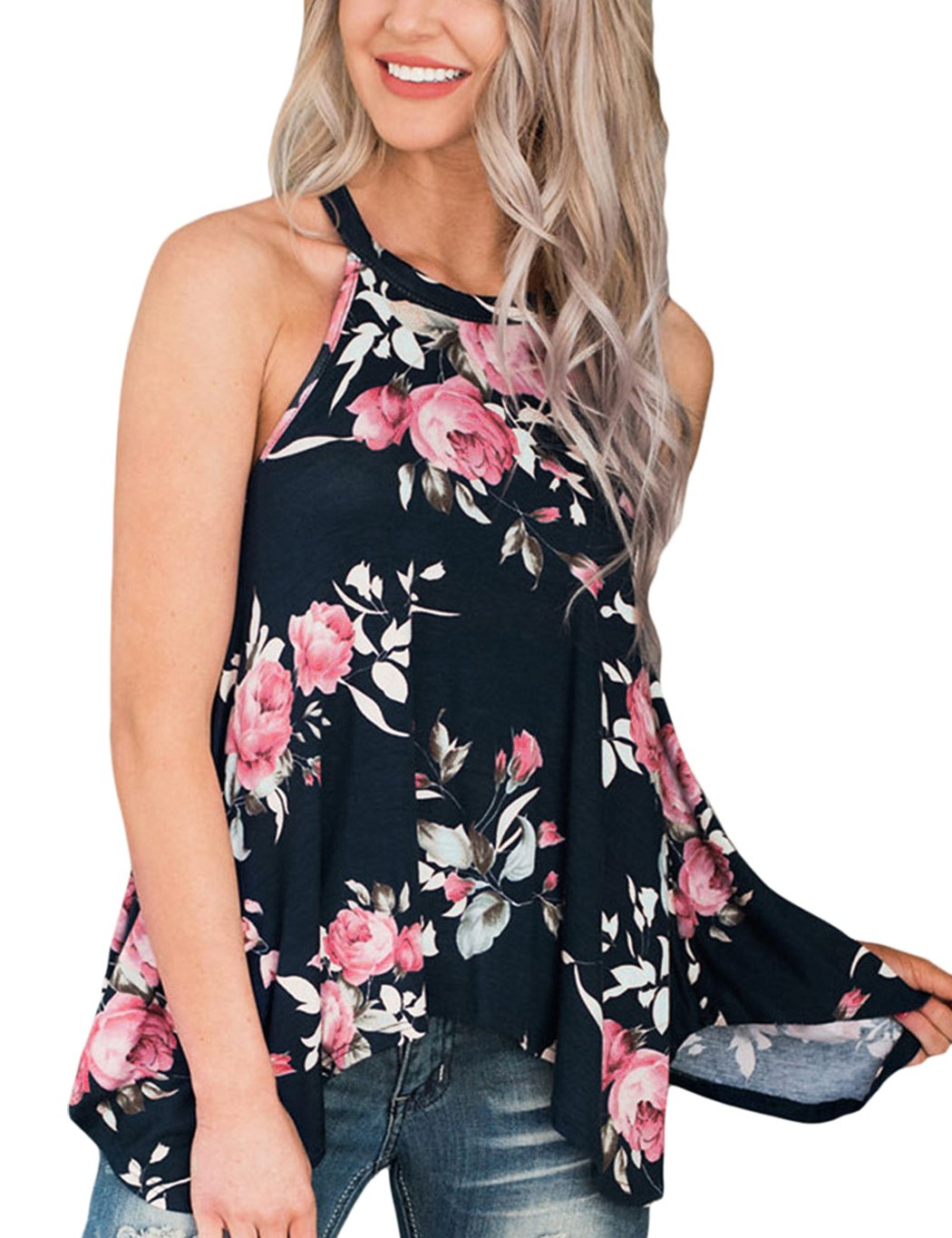 LitBud Womens Summer Tank Top for Women Ladies Floral Halter Spaghetti Strap Cami Loose Tee Casual T Shirts Flowy Halter Basic Tunic Tops Blouse Black Size 4 6 S