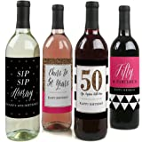 Chic 50th Birthday - Pink, Black and Gold - Wine Bottle Labels Birthday Gift - Set of 4