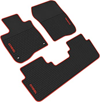 Autotech Zone Custom Fit Heavy Duty Custom Fit Car Floor Mat for 2017-2019 Honda CR-V SUV All Weather Protector 4 Pieces Set Red and Black