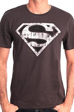 Superman Logo Metal - Camiseta para Hombre, Color Gris (antrhacite), Talla M/M: Amazon.es: Ropa y accesorios