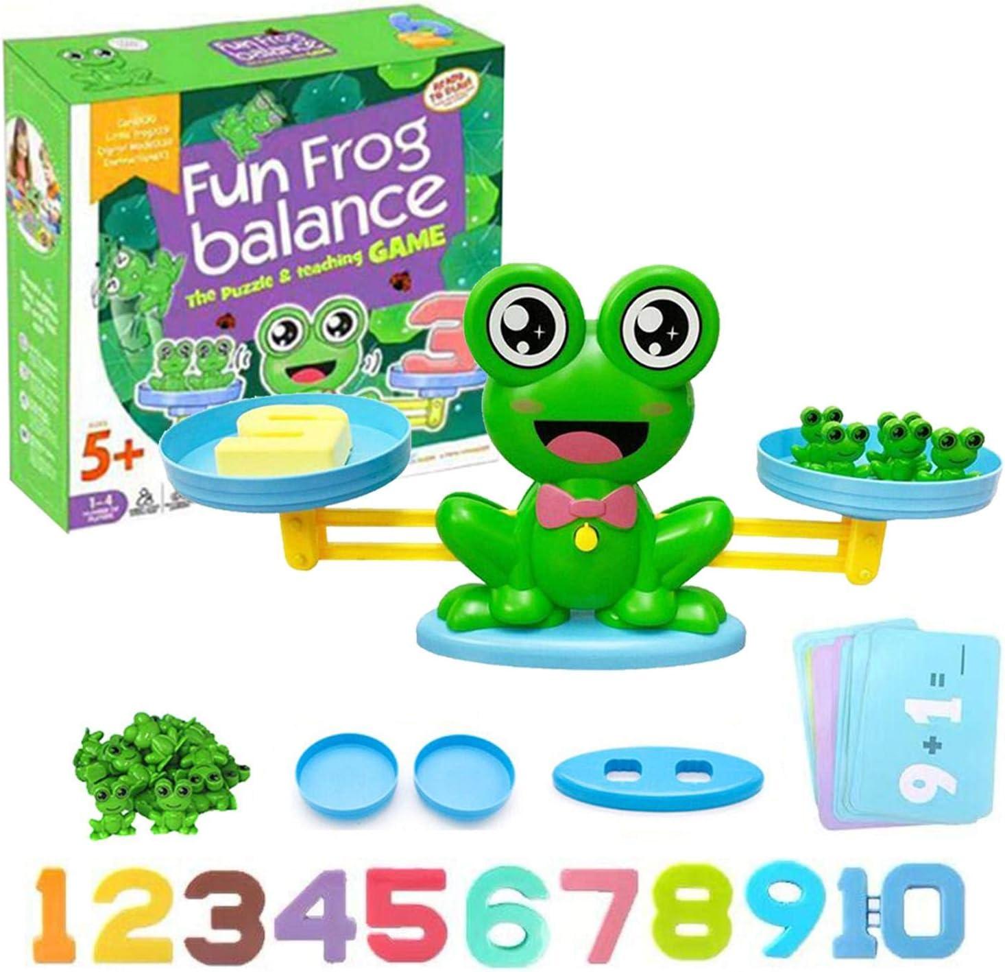Mathe Waage Spielzeug,Z/ählen und Rechnen Lernspielzeug mit Waage und Zubeh/ör,Cartoon Tier Frosch Balance Geschicklichkeit Spielzeug f/ür Kinder ab 3 Jahhre