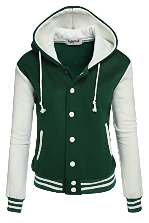 Zeagoo Women's Fleece Varsity Baseball Hoodie Jacket at Amazon ...