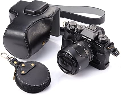 T2 XT2 with Strap /& Storage Card Case Black Full Protection Bottom Opening Version Protective Real Leather Camera Case Bag with Tripod Design Compatible For FUJIFILM Fuji X Series X