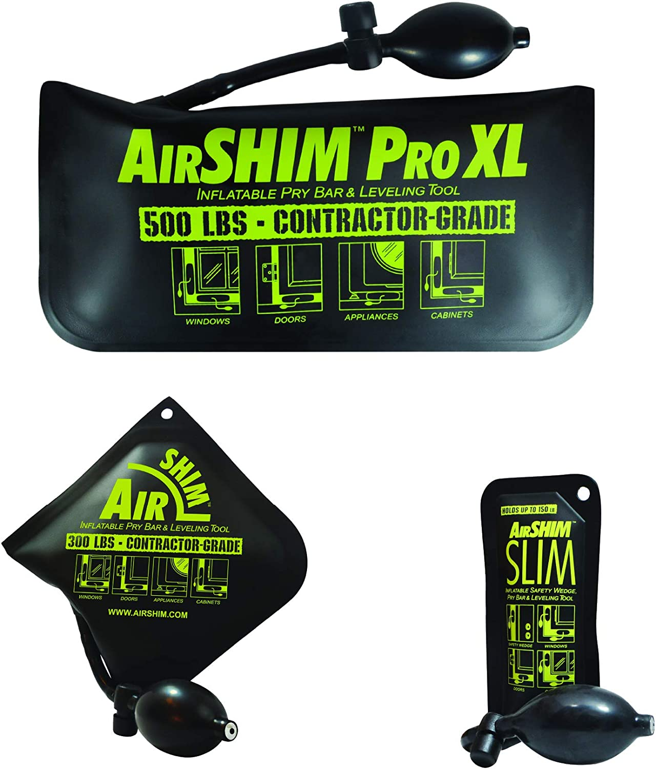 Calculated Industries 1134 AirShim Inflatable Pry Bars and Leveling Tools 3-pc Value Pack – Original AirShim, AirShim Pro XL, and AirShim Slim   Contractor-Grade Alignment Pump Wedges   Set of 3