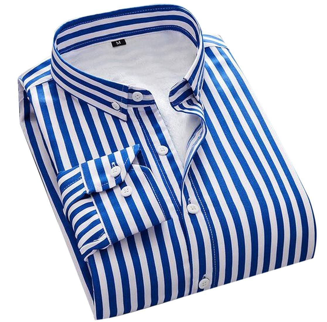 SELX Men Striped Long Sleeve Office Fleece Thermal Boyfriend Button up Shirts
