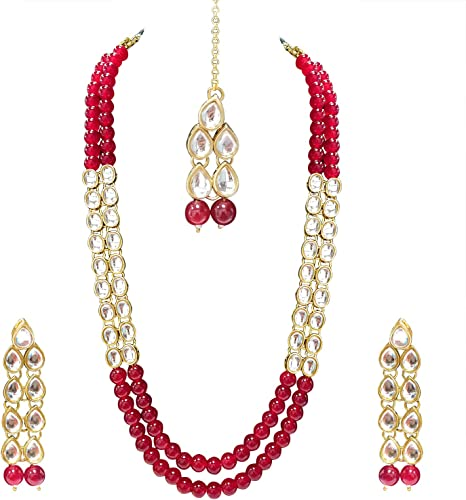 Aheli Wedding Party Wear Faux Kundan Pendant Green Beaded Necklace Earrings Set Bollywood Party Indian Jewelry for Women