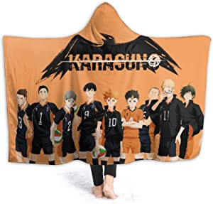 JooKrrix Flannel Fleece Men Hooded Blanket with Pompom Fringe, Warm Fluffy Throw Blanket, Solid Anime Haikyu!! Bedspreads for Couch Home Decor Travel, 50x40 inch