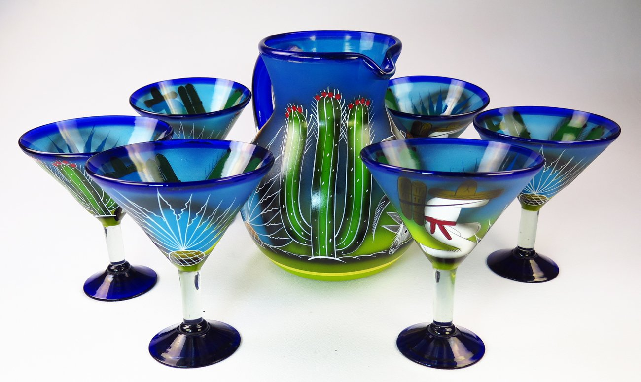 Mexican Margarita Martini glasses and matching Pitcher, Hand Painted Poncho with Cactus (Set of 6 glasses)