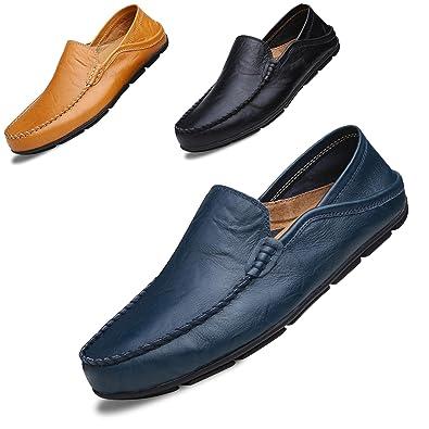 LSGEGO Hombres Moda Mocasines Zapatos de Negocios Bota de Cuero Genuino Transpirable Correr Caminar Oficina Casual Todos los Días Entrenadores Al Aire Libre ...