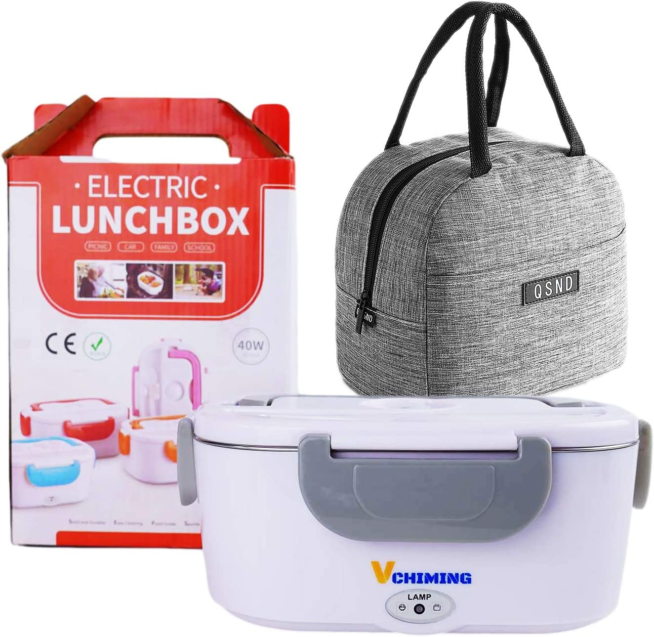 Vchiming Electric Lunch Box Food Warmer 2-In-1 Portable Food Heated Lunch Box for Car, Home & Office 12V 110V 40W, Removable Stainless Steel Hot Food Container 1.5L, Free Carry Bag and Spoon