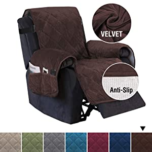 "H.VERSAILTEX Recliner Sofa Slipcover Slip Resistant Velvet Sofa Cover Furniture Protector, Seat Width Up to 28"" Couch Shield, 2"" Elastic Straps, Checked Pattern Recliner Slipcover (Recliner: Brown)"