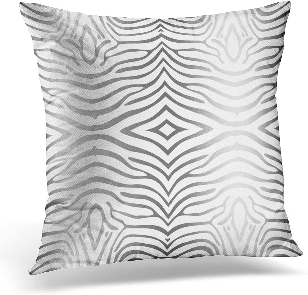 Amazon Com Vanmi Throw Pillow Cover Animal Silver Gray And White Zebra Strioes Decorative Pillow Case Home Decor Square 20x20 Inches Pillowcase Home Kitchen