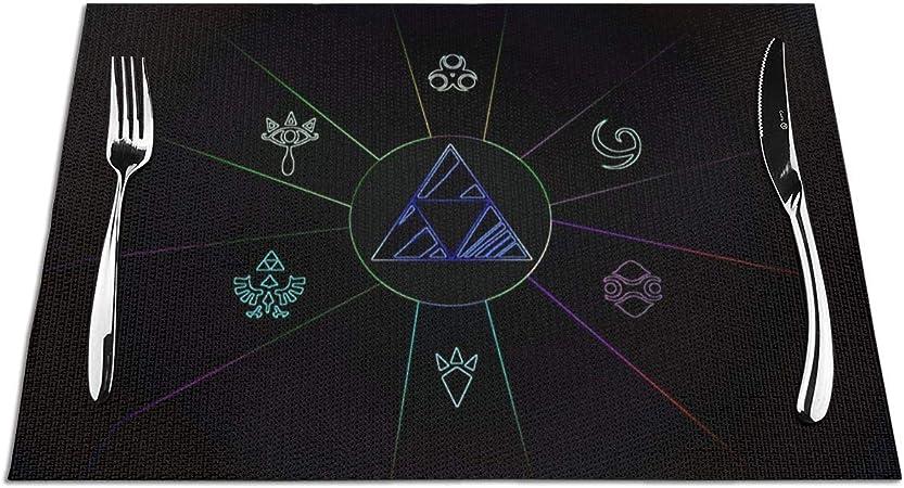Acción The Legend Of Zelda Manteles individuales Manteles resistentes al calor Manteles antideslizantes Lavables antideslizantes Manteles de mesa de PVC Juego de manteles individuales de 6,12X18 in: Amazon.es: Hogar