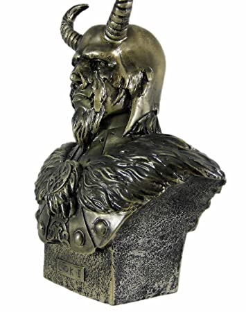 PTC 11 Inch Loki Armored God with Horns Head and Bust Statue Figurine