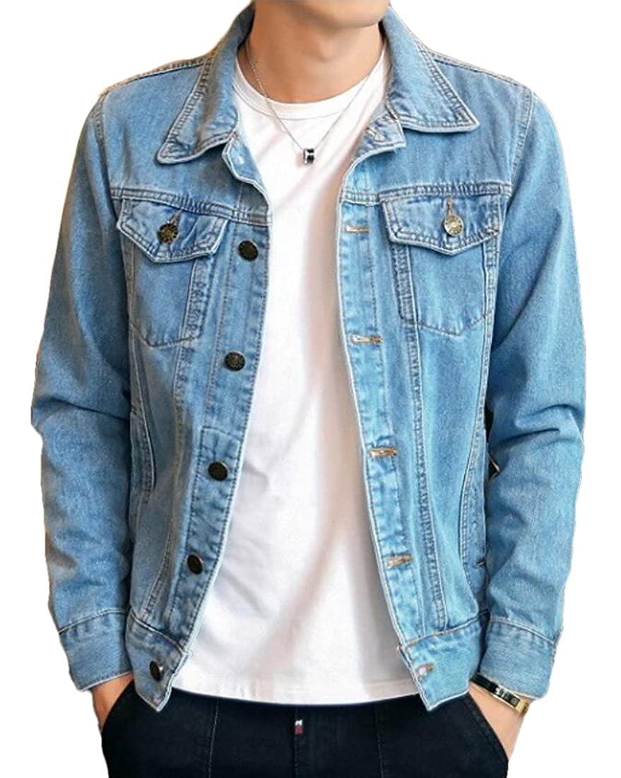 BYWX-Men Vintage Slim Fit Stretch Trucker Denim Jacket with Pocket
