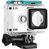 Rhodesy Boîtier/Housse Waterproof Protectrice avec Trépied & Vis Profondeur de Plongée 40m Pour Caméra Action Xiaomi Yi Vert