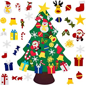 4FT DIY Felt Christmas Tree Set with 36pcs Ornaments 5M 50LED Warm White LED String Lights - Wall Hanging Felt Xmas Tree for Kids Toddlers Christmas New Year Gift Decorations Party Supplier