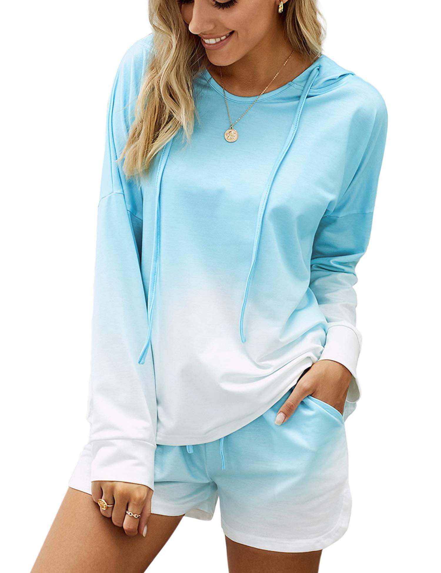 ANGABRIEL Womens Tie-dye Pajamas Set Long Sleeve Hoodie with Shorts PJ Set