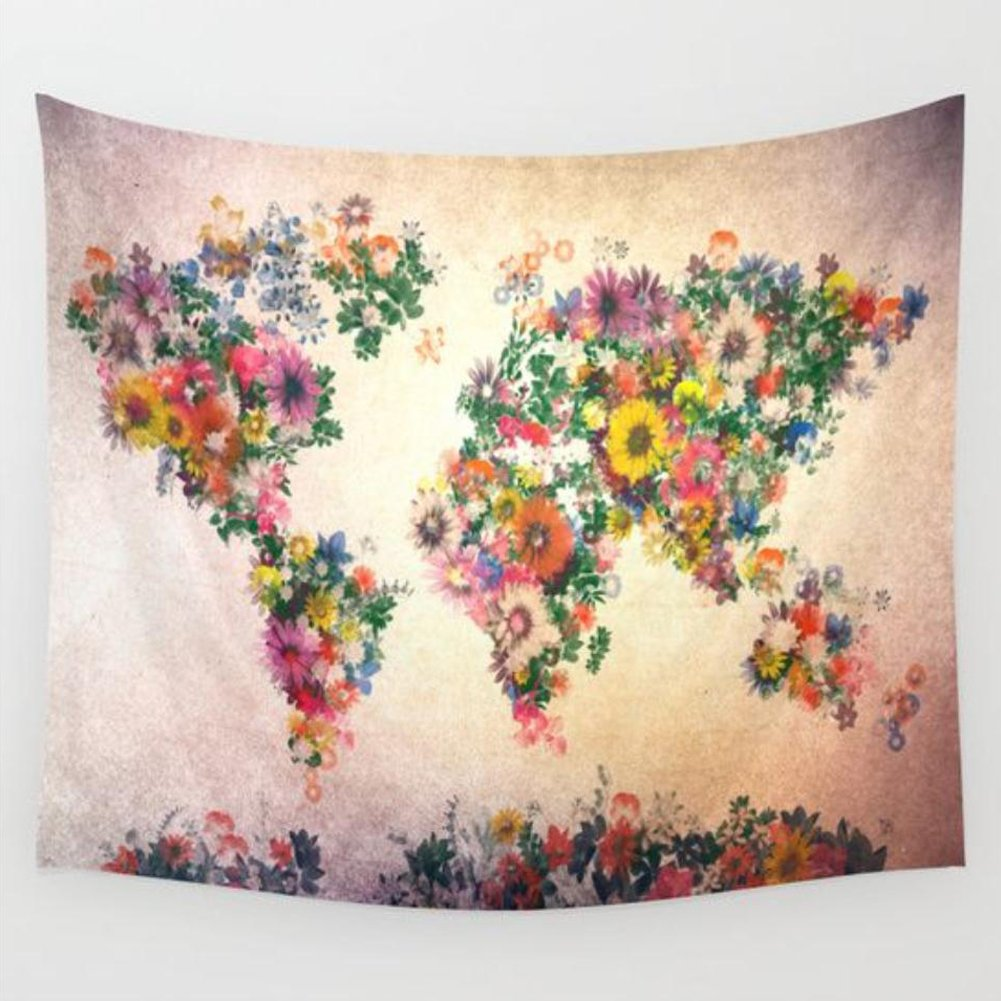 Wall Art Home Decor Tapestry Retro Watercolor World Map Cotton Blend Wall Tapestry Wall Hanging Boho Tapestry Hippie Hippy Tapestry Beach Coverlet Curtain