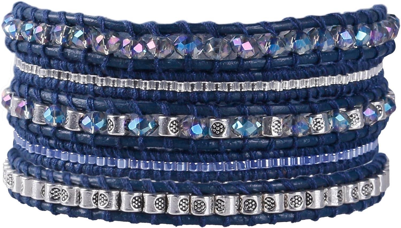 KELITCH 5 Hebra Azul Cuero Pulsera del Abrigo con Cristal Abalorios Metal Pepita