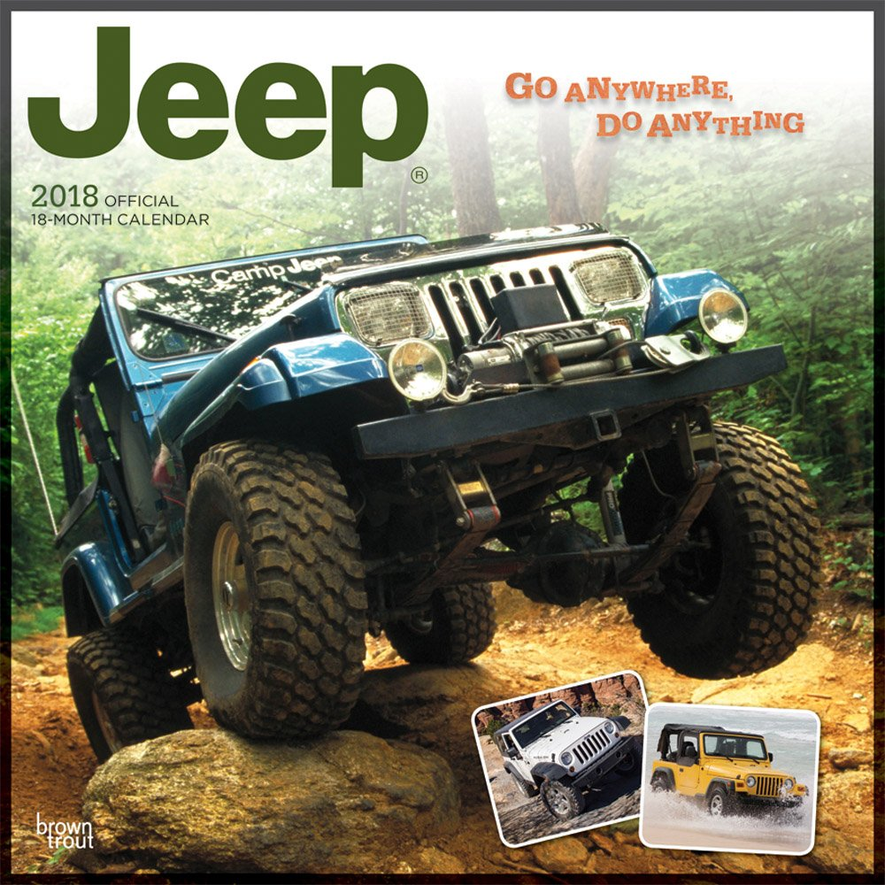 Jeep 2018 12 x 12 Inch Monthly Square Wall Calendar, Offroad Motor Car by BrownTrout Publishers