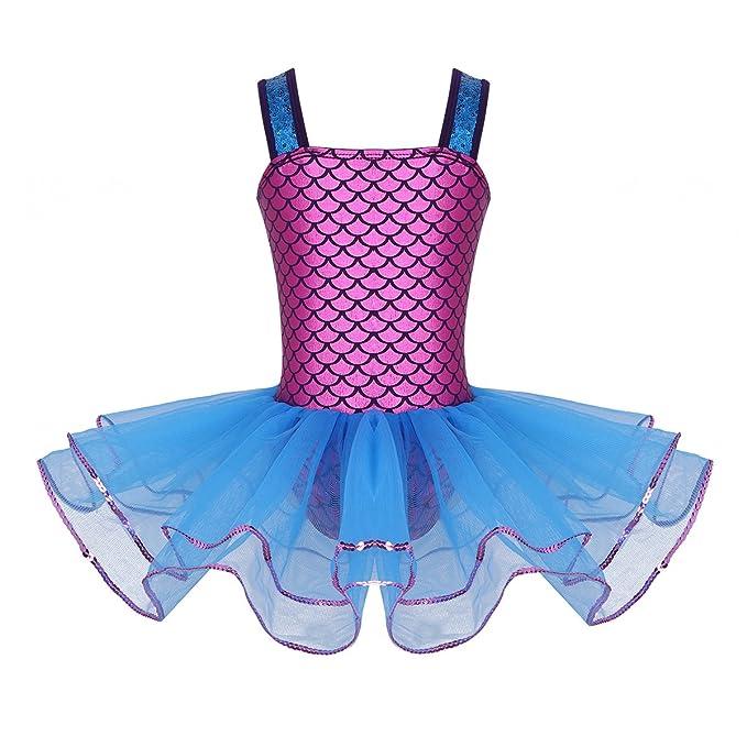 TiaoBug Leotard Body Vestito da Balletto Ragazza Bambina Ginnastica Danza Tutu Elegante Senza Manica Aderente Abito Brillante Paillettes Classica 2 Pezzi Performance