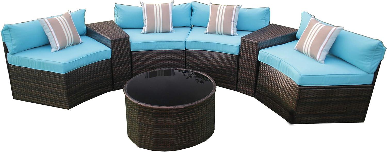 ALEKO Rattan Wicker Luxe 7-Piece Indoor/Outdoor Modular Sectional - Seabreeze Set