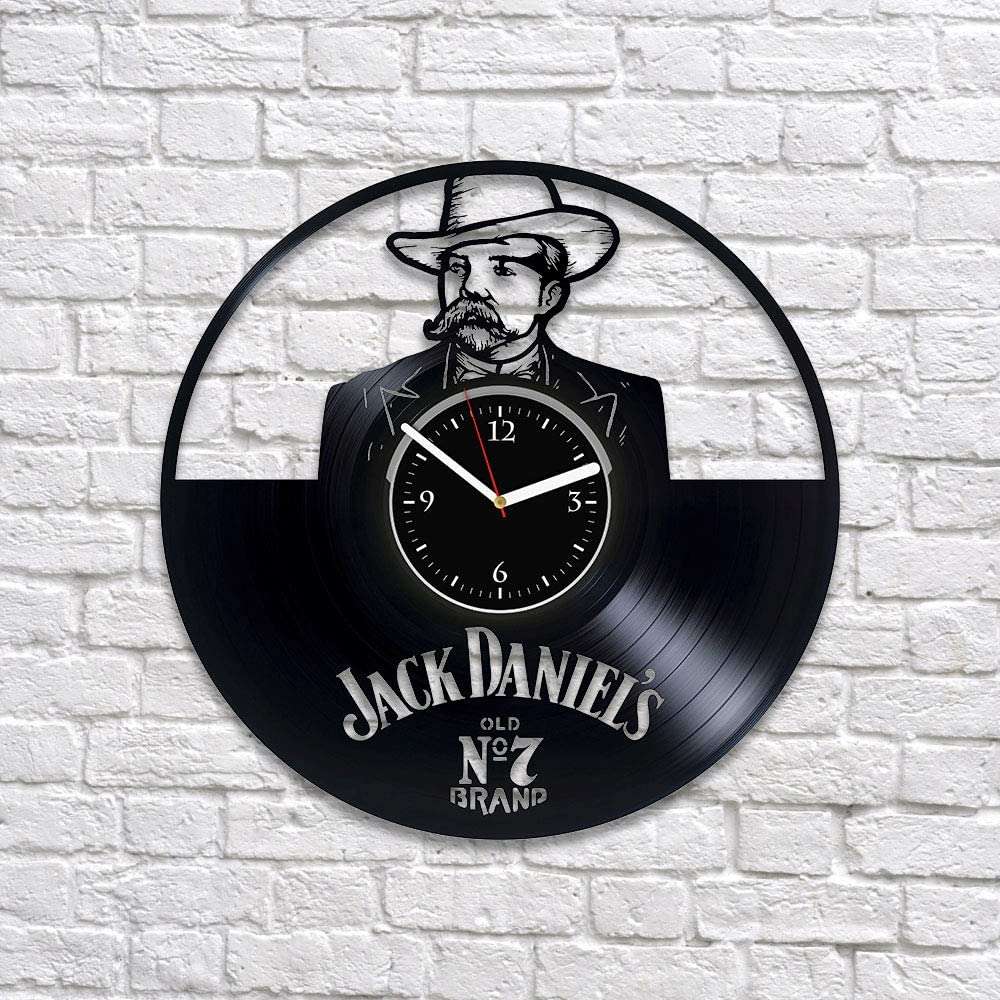 RainbowClocks Horloge murale Jack Daniel's en vinyle Jack Daniel's   Cadeau  pour homme