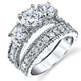 Amazon Price History for:Sterling Silver Past Present Future 2-Pc Bridal Set Engagement Wedding Ring Band W/Cubic Zirconia CZ