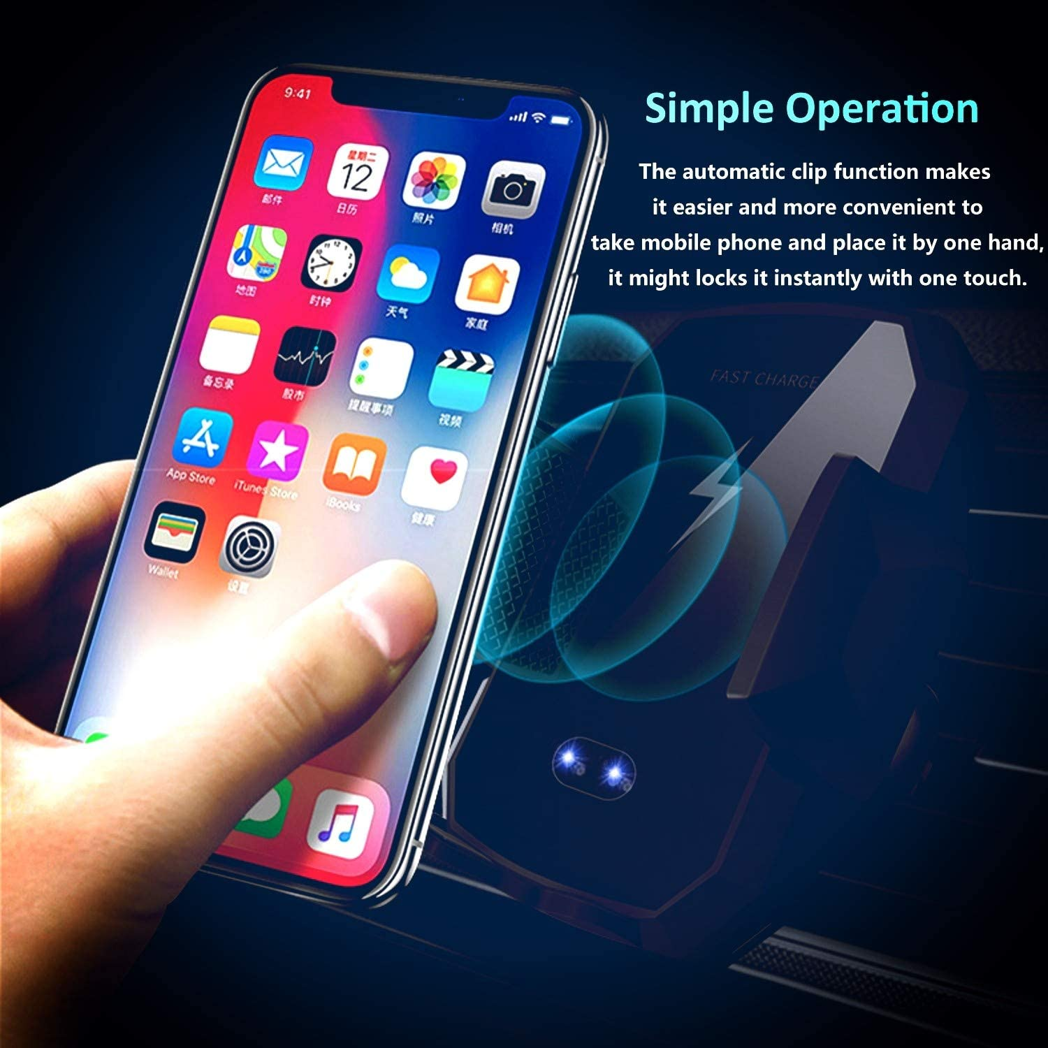 Black 2019 Updated Product 2.0,Wireless Car Charger,Phone Holder Mount,Wireless Vehicle Holder,Qi Charger,Infrared Sensor,Vehicle Charger,2in1 Smasher Holder,360 Degree Rotation,Qi Certification