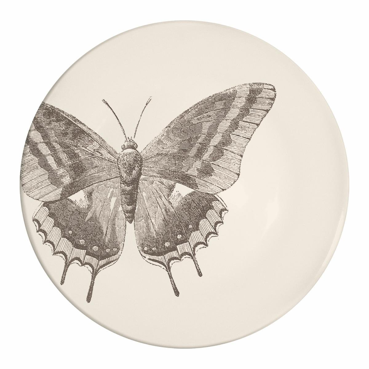 Paperproducts Design Botanical Collection Stoneware Plate with Butterfly Design, 8.5 x 8.5 x 1'', Ivory/Black