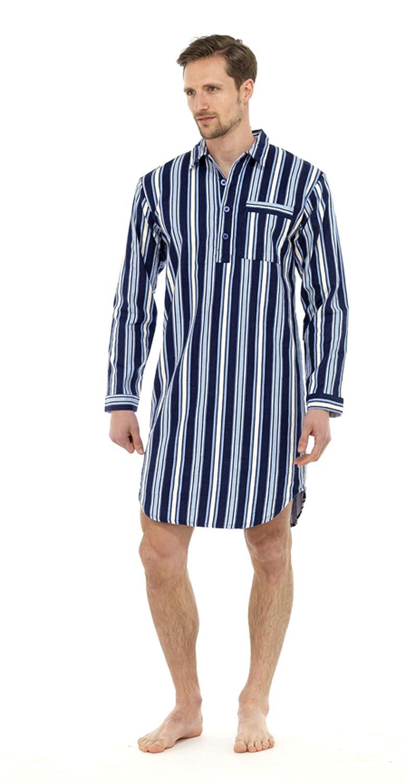 Mens Classic Brushed Cotton Nightshirt Sleepwear Nightwear Lounge Wear HT328