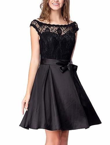 Noctflos Women's Lace Satin Little Black Dress For Homecoming Cocktail Party
