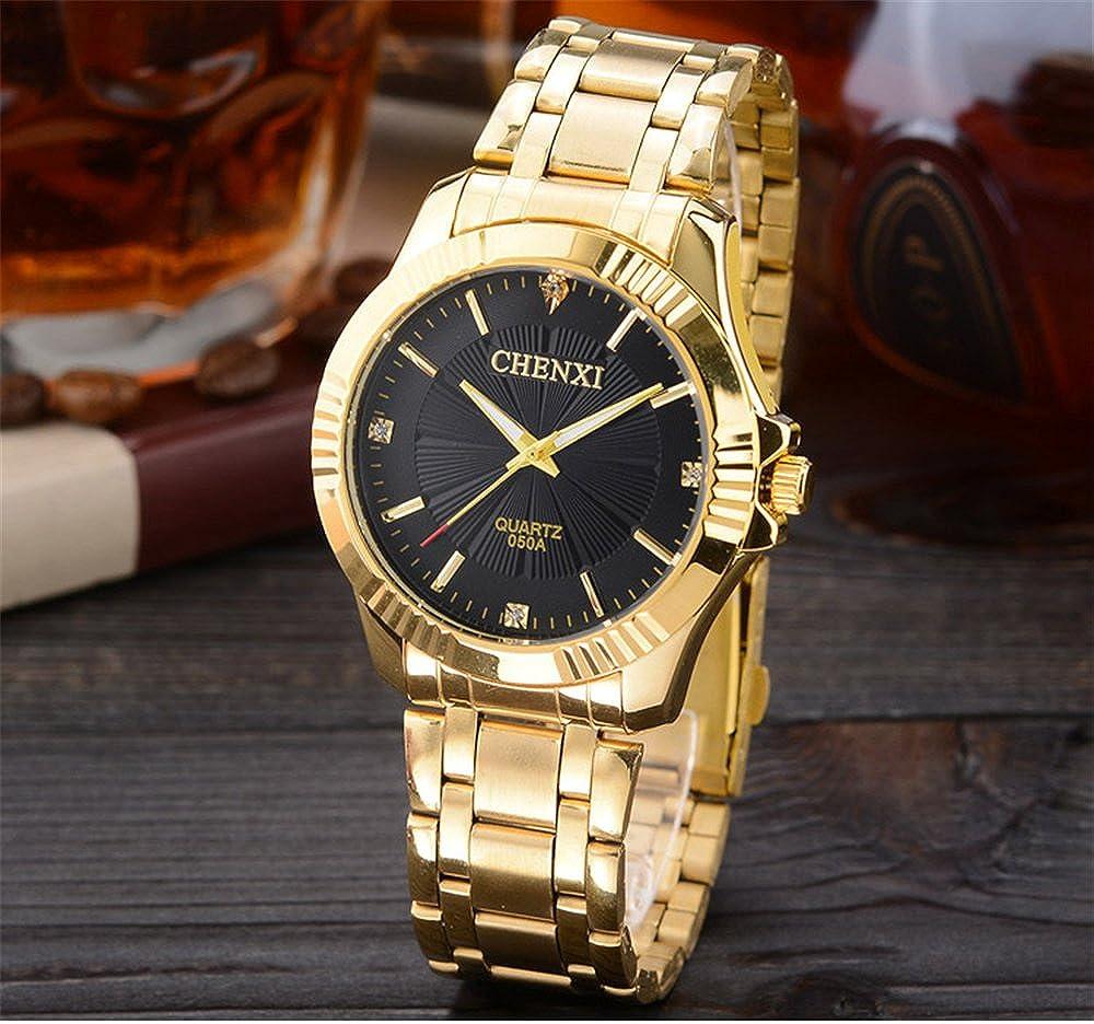 Amazon.com: CHENXI Mens Fashion Classic Quartz Analog Steel Gold Wrist Watch(Black): Watches