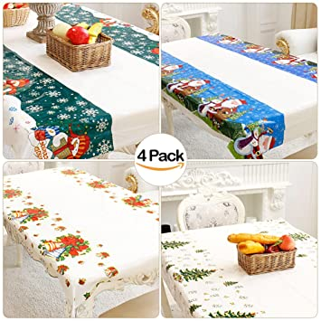 VAMEI Navidad Manteles Desechables Impreso rectángulo Tabla Cubiertas para Festiva de la celebración de la decoración Comedor Pack de 4: Amazon.es: Hogar