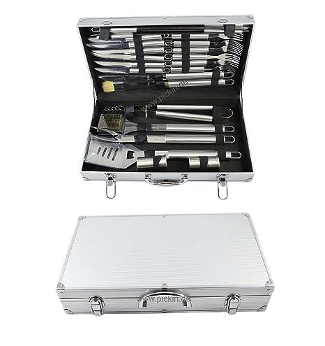 Acero inoxidable Set de cubiertos con maletín de aluminio ...