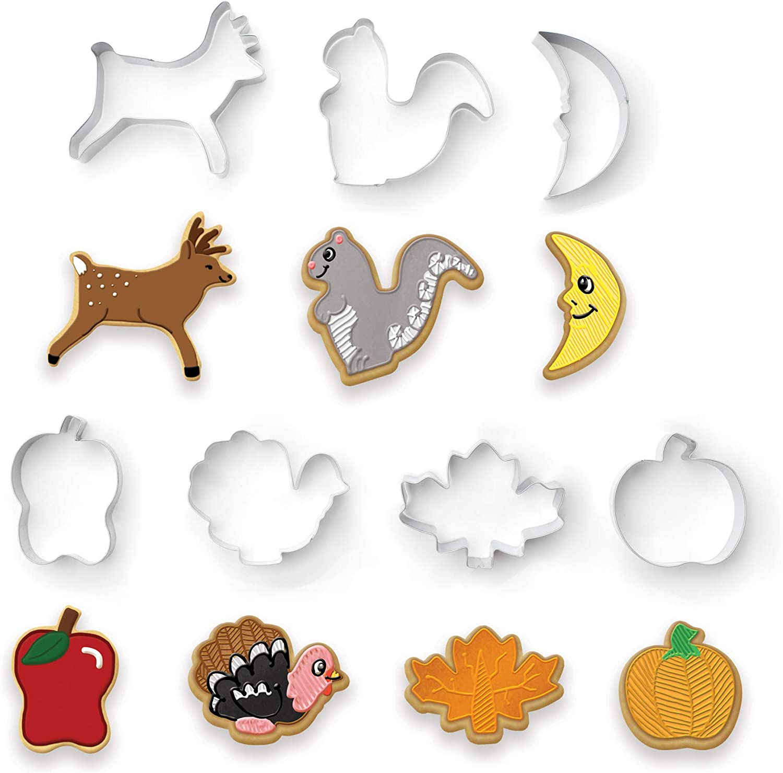 Fox Run Autumn Cookie Cutter Set, Silver