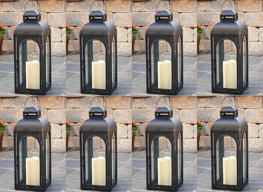 Smart Solar HY1011M 17'' Black LED Solar Patio Lantern - Quantity 8