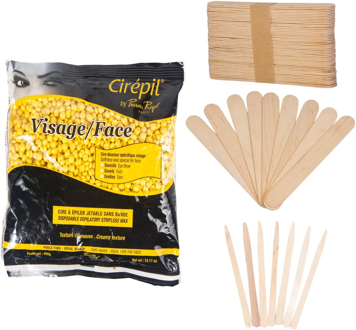 Cirepil Visage Face Wax (14 oz) Kit, Includes 100 X-Small and 60 Large Applicator Sticks …