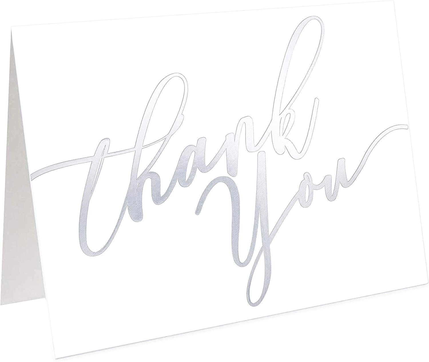 60 Pack Thank You Cards - Silver Thank You Cards -Elegant Greeting Cards With ''Thank you'' Embossed In Silver Letters -Baby Shower, Bridal, Wedding Thank You Cards -Include 60 Envelope - 3.75'' x 5''