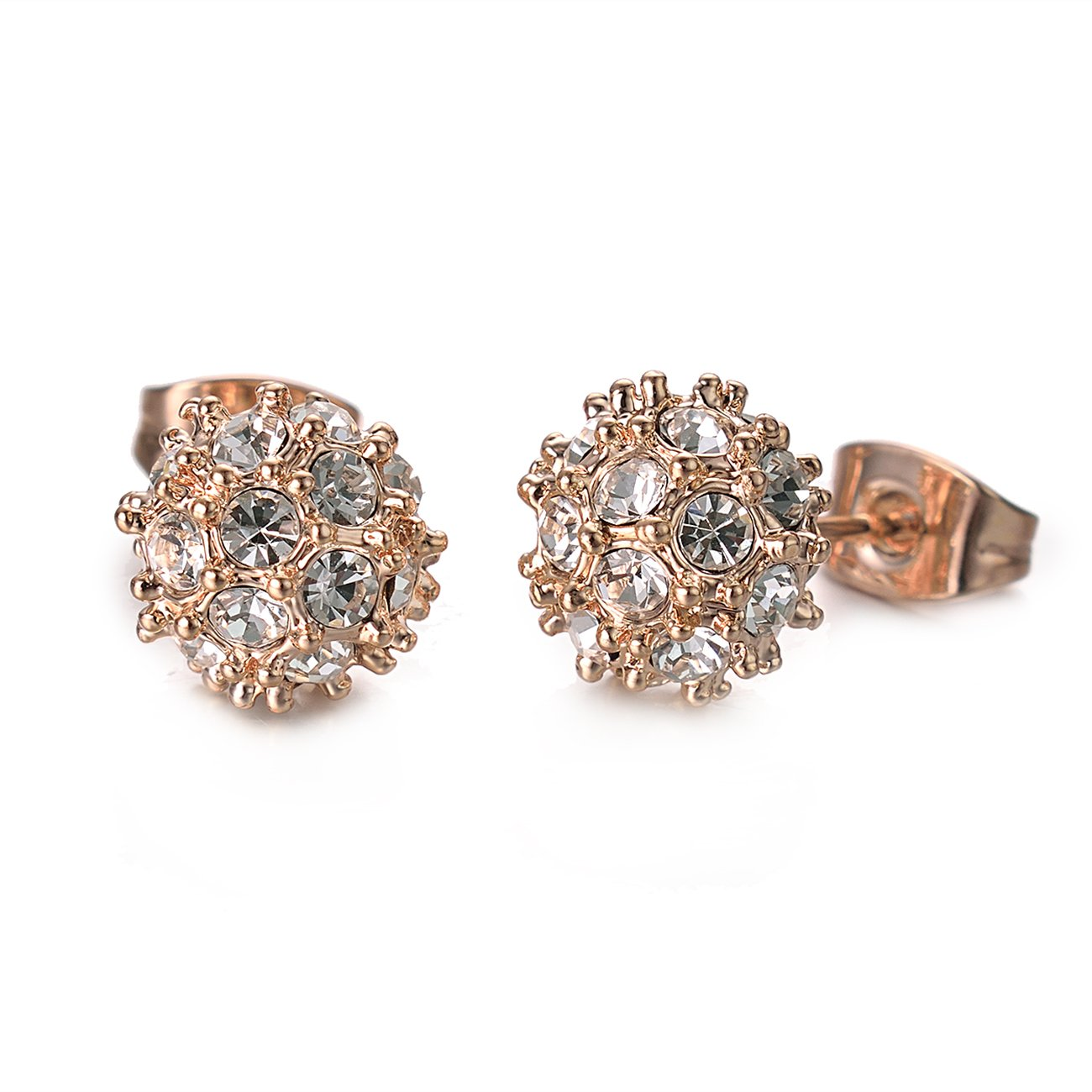 VOGEM Ball Stud Earrings Rose Gold Plated Bling Cubic Zirconia Party Cocktail Jewellery For Girls Women TCE1040