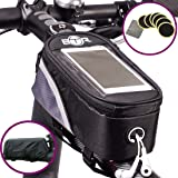 BTR Bike Bag Pannier With Mobile Phone Holder / Mount. Compatible With iPhones, Samsung Galaxy & More with 6 FREE PUNCTURE REPAIR PATCHES